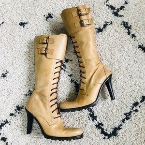 Donald Pliner Leather Heel Moto Boots